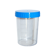 Picture of Healthcare-Laboratory Specimen Containers Paper Urine Container with Light Blue Screw Cap, 150ml Graduated up to 125ml, 60 (D) x 83mm, Polystyrene, 450 per Carton