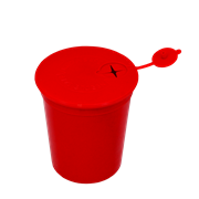 Picture of Sharps Disposal-Sharps Disposal Safes Polypropylene, Red Aptaca Needles Sharps Waste Collector, 1.5L Capacity, with Air-Tight Lid, Red, Each