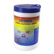 Picture of Liv-Wipe 70% Isopropyl Alcohol Wipes Liv-Wipe Antibacterial Alcohol Wipes, 70 Percent Isopropyl Alcohol Sanitiser, Jumbo, 42 x 14.5cm, 75 per Recyclable Tub