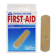 Picture of Dressings-Wound dressings Adhesive Fabric Strips Livingstone Adhesive Fabric First Aid Strips with Pad, 73 x 18mm, Latex Free, Sterile, 100 Per Box
