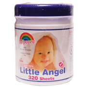 Picture of Wipes-Baby Wipes Little Angel Baby Wipes, 20 x 13 cm, 320 Sheets per Tub, 12 Tubs per Carton