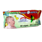 Picture of Wipes-Baby Wipes Livingstone UNI-Wipe Baby Wipes, Natural Scent, Perfume-Free, 20 x 18cm, 80 Wipes in Resealable Soft Pack