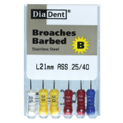 Picture of Dental-Instruments Endodontic Barbed Broaches Diadent Broaches, 21mm, Extra Fine, Barbed, Red, Colour Coded, 6 per Pack