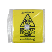 Picture of First Aid - Biohazard Waste Bag w th Contaminated Waste Label Livingstone Biohazard Waste Bag, 99 x 57cm, 72 Litres, 30 Microns, Recyclable LDPE, Yellow, 50 per Bag, 250 per Carton
