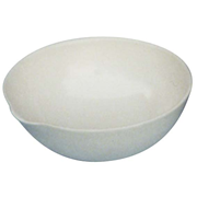 Picture of Laboratory Supplies-Basins Flat Bottom with Spout Livingstone Evaporating Dish, 60ml, 74 Diameter x 29 Height mm, Round Bottom with Spout, Porcelain, Each
