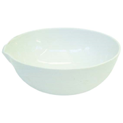 Picture of Laboratory Supplies-Basins Flat Bottom with Spout Livingstone Evaporating Dish, 300ml, 130 Diameter x 53 Height mm, Round Bottom with Spout, Porcelain, Each