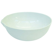 Picture of Laboratory Consumables-Evaporating Basins Porcelain, Round Bottom with Spout  Livingstone Evaporating Dish, 1000ml, 206 Diameter x 64 Height mm, Round Bottom with Spout, Porcelain, Each