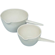 Picture of Laboratory Consumables-Evaporating Basins Porcelain, Flat Bottom with Spout & Handle Livingstone Evaporating Dish 40ml, 64 Diameter x 25 Height mm, Round Bottom with Handle, Porcelain, Each