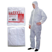 Picture of Apparel - Coveralls - Livingstone Livingstone Coveralls Protective Suit with Hood, 40gsm, Large, Waterproof, Recyclable Polypropylene SPP, White, HACCP Certified, 50/Carton