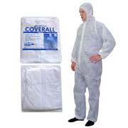 Picture of Apparel - Coveralls - Livingstone Livingstone Coveralls Protective Suit with Hood, 40gsm, Medium, Waterproof, Recyclable Polypropylene SPP, White, 50 per Carton