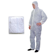 Picture of Healthcare-Apparel Body Protection Aprons Livingstone Coveralls Protective Suit with Hood, 40gsm, Extra Large, Waterproof, Recyclable Polypropylene SPP, White, 50 per Carton