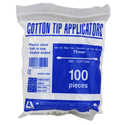 Picture of Cotton Products-Cotton Tip Applicators Plastic, Non-sterile Livingstone Cotton Tip Applicator, Double Tipped, Recyclable Plastic Stem, 7.5cm, 100 per Pack