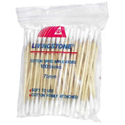 Picture of Cotton Products-Cotton Tip Applicators Wooden, Non-sterile Livingstone Cotton Tip Applicator, Double Tipped, Biodegradable Wooden Stem, 7.5cm, 100 per Pack
