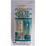 Picture of Cotton Products-Cotton Tip Applicators Wooden, Non-sterile Livingstone Cotton Tip Applicator, Single Tipped, Biodegradable Wooden Stem, 15cm, 100 per Pack