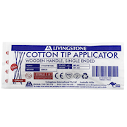 Picture of Cotton Products-Cotton Tip Applicators Wooden, Sterile Livingstone Cotton Tip Applicator, Single Tipped, Biodegradable Wooden Stem, 7.5cm, Sterile, 5 per Pack, 1000 Packs per Carton