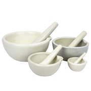 Picture of Laboratory Supplies-Mortars & Pestles Porcelain with Spout Livingstone Mortar and Pestle, 100ml, 100mm Diameter, Porcelain, Each