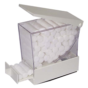 Picture of Dental-Cotton Products Cotton Rolls And Dispensers Cotton Roll Dispensers Livingstone Dental Cotton Roll Dispenser, 52 x 106 x 100mm, White, Each