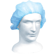 Picture of Apparel - Berets - Disposable Caps Livingstone Disposable Bouffant Hairnet Cap, Blue, Nonwoven, Latex Free, Double Elastic, 21 inches, HACCP Certified, 250 per Inner Dispenser