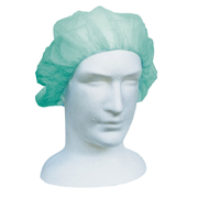 Picture of Apparel - Berets - Disposable Caps Livingstone Disposable Bouffant Hairnet Cap, Green, Nonwoven, Latex Free, Double Elastic, 21 inches, HACCP Certified, 250/Inner Dispenser