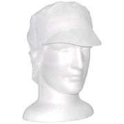 Picture of Apparel-Paper Caps With Peak & Hair Net Disposable Nonwoven Cap, with Peak and Hair Net, Latex Free, HACCP Certified, 1000 per Pack