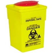 Picture of Sharps Disposal-Sharps Disposal Safes Standard, Yellow Livingstone Needles Sharps Waste Collector, 2 Litres, with Clip Lid and Finger Guard, Square, Recyclable Plastic, Yellow, Each