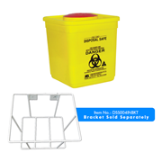 Picture of Sharps Disposal-Sharps Disposal Safes Standard, Yellow Livingstone Needles Sharps Waste Collector, 4.75 Litres, with Rotating Lid and Finger Guard, Square, Recyclable Plastic, Yellow, Each