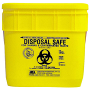 Picture of Sharps Disposal-Sharps Disposal Safes Standard, Yellow Livingstone Needles Sharps Waste Collector, 12.5 Litres, with Sliding Lid and Finger Guard, Square, Recyclable Plastic, Yellow, Each