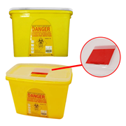 Picture of Sharps Disposal-Sharps Disposal Safes Standard, Yellow Liv Needles Sharps Waste Collector, 15 Litres, Sliding Lid and Finger Guard, Translucent Cover, Square, Recyclable Plastic, Yellow, Each