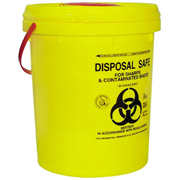Picture of Sharps Disposal-Sharps Disposal Safes Standard, Yellow Livingstone Needles Sharps Waste Collector, 23 Litres, with Screw Lid and Finger Guard, Round, Recyclable Plastic, Yellow, Each