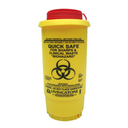 Picture of Sharps Disposal-Sharps Disposal Safes Standard, Yellow Livingstone Needles Sharps Waste Collector, 500ml, with Pull Off Lid and Finger Guard, Round, Recyclable Plastic, Yellow, Each