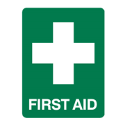 Picture of First Aid-Warning Signs and Labels  Polypropylene Livingstone Printed Sign 'First Aid', 450 x 600 mm, Recyclable Polypropylene, Each