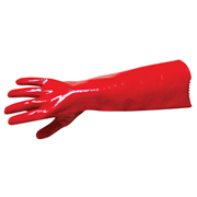 Picture of Gloves-PVC Gloves Livingstone Polyvinyl Chloride (PVC) Gauntlet Gloves, Single Dipped, Long Cuff, 45cm, Red, 30 Pairs per Carton