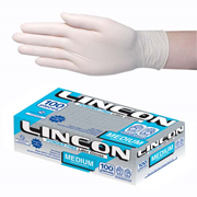 Picture of Gloves-Disposable Gloves Latex Gloves Lincon Biodegradable Latex Examination Gloves, AS NZ Standard, Powder Free, Medium, Cream Colour, 100 per Box