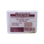 Picture of Dressings-Gauze Swabs Non-Sterile Cotton Gauze Swabs, 8Ply Livingstone Gauze Swabs, 10 x 10 cm x 8 Ply, White, 100 Percent Cotton, Surgically Clean, Non-Sterile, 100 per Pack
