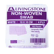 Picture of Dressings-Gauze Swabs Non-woven Gauze Swabs, 4 Ply Livingstone Non-Woven Swabs, Superior Absorbency, White, 4 Ply, 10 x 10 cm, 100 per Pack