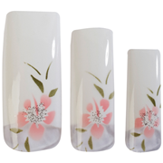 Picture of HAWLEY TIPS AIR BRUSHED CREAMYWHITE WITH PINK FLOWER- 70/PK HAWLEY TIPS AIR BRUSHED CREAMYWHITE WITH PINK FLOWER- 70/PK
