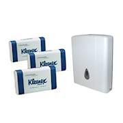 Picture of Kleenex Compact Towel Starter Kit, 15 Packs of Compact Towel and One Dispenser, Kit Kleenex Compact Towel Starter Kit, 15 Packs of Compact Towel and One Dispenser, Kit