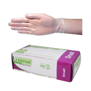 Picture of Gloves-Disposable Gloves Vinyl Gloves Universal Vinyl Examination Gloves, Recyclable, 5.5g, Low Powder, Small, Clear, 100 per Box