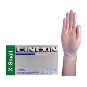 Picture of Gloves-Disposable Gloves Vinyl Gloves Lincon Vinyl Examination Gloves, Recyclable, 5.0g, Low Powder, Extra Small, Clear, 100 per Box