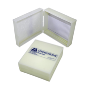 Picture of Laboratory Consumables-Microscope Slide Cases Shock-Resistant Polystyrene, Hinged Livingstone Microslide Recyclable Plastic Case, Holds 25 Slides, 98L x 81W x 35Hmm, Hinged, White, Acrylonitrile Butadiene Styrene, Each