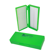 Picture of Laboratory Consumables-Microscope Slide Cases Shock-Resistant Polystyrene, Hinged Livingstone Microslide Recyclable Plastic Case, Holds 50 Slides, 200L x 80W x 35Hmm, Hinged, Green, Acrylonitrile Butadiene Styrene, Each