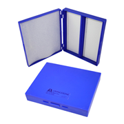 Picture of Laboratory Consumables-Microscope Slide Cases Shock-Resistant Polystyrene, Hinged Livingstone Microslide Recyclable Plastic Case Holds 100 Slides, 200L x 160W x 35Hmm, Hinged, Blue, Acrylonitrile Butadiene Styrene, Each