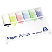 Picture of Dental-Endodontic Products Livingstone Absorbent Paper Points, ISO Size No. 15-40, 6 Compartments, Biodegradable, Sterile, Colour Coded, 200 per Box