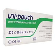 Picture of Uni-Pouch Sterilisation Pouch, with Indicator Strips, 230 x 380mm, 200 per box Uni-Pouch Sterilisation Pouch, with Indicator Strips, 230 x 380mm, 200 per box