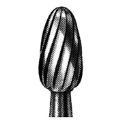 Picture of Dental-Burs - Tungsten Carbide 277 (Egg) FG (High Speed / 314) SSW 7404 Tungsten Carbide Burs, Egg Shape, 014F, Friction Grip, Made in UK, Each