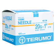 Picture of Needles - Disposable - Sterile - Terumo Terumo Hypodermic Needle, 20 Gauge x 1 Inch, 25mm, Ultra Thin Wall, Yellow, 100 per Box