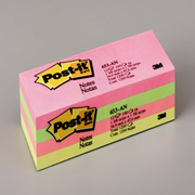 Picture of School-Livingstone Office Paper, Pads & Envelope Book, Pads & Notes 3M 653AN Post-It Notes, 34.9 x 47.6mm, Assorted Neon Colours, 100 Sheets per Pad, 12 Pads per Pack
