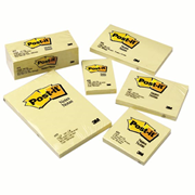 Picture of Stationery Supplies-General Stationeries Repositionable Notes Post-it Notes 3M 654 Post-It Notes, 73 x 73mm, Yellow, 100 Sheets per Pad, Loose