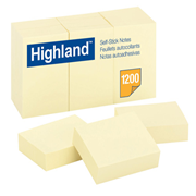 Picture of Dental-Office Supplies Post - It Products Highland Notes 3M Highland Self-Stick Notes, Yellow, 38 x 50 mm 12 per Pack