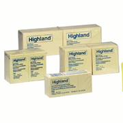 Picture of Dental-Office Supplies Post - It Products Highland Notes 3M 6549 Highland Notes, 73 x 73mm, Yellow, 100 Sheets per Pad, 12 Pads per Pack